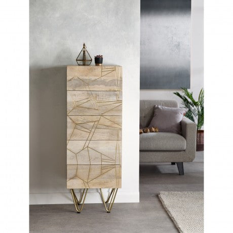 Indian Hub Light Gold Tall Chest of Drawers