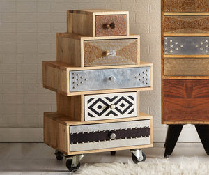 Indian Hub Sorio 5 Drawer Small Chest-Better Bed Company