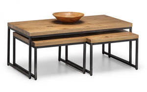 Julian Bowen Brooklyn Oak Nesting Coffee Tables-Better Bed Company