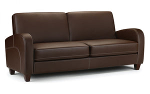 Julian Bowen Vivo 3 Seater Chestnut Faux Leather Sofa-Better Bed Company