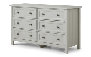 Julian Bowen Maine 6 Drawer Wide Dove Grey Chest-Better Bed Company