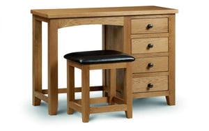 Julian Bowen Marlborough Oak Single Pedestal Dressing Table-Better Bed Company