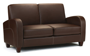 Julian Bowen Vivo 2 Seater Chestnut Faux Leather Sofa-Sofas-Better Bed Company