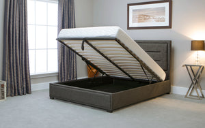 Emporia Beds Knightsbridge Ottoman Bed In Grey Open View-Better Bed Company