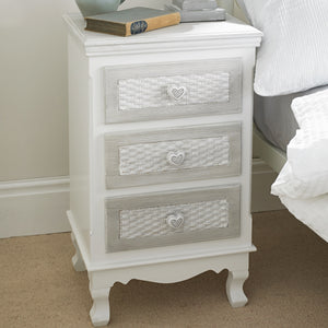 LPD Furniture Brittany 3 Draw Bed Side Table-Better Bed Company