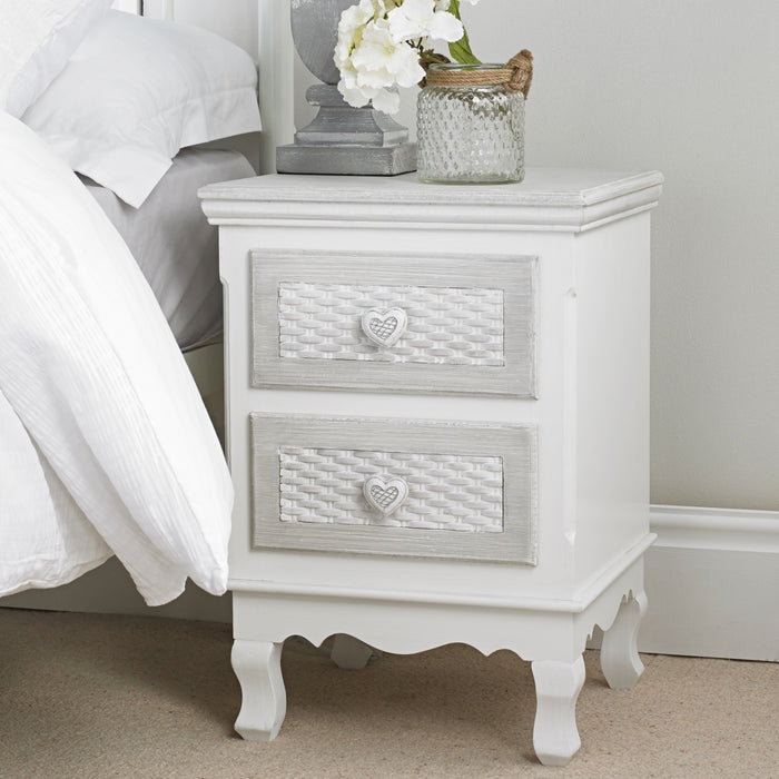 LPD Furniture Brittany 2 Draw Bed Side Table