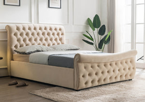 Luccay Beige Fabric Bed-Fabric Beds-Furn Beds-Double-Better Bed Company