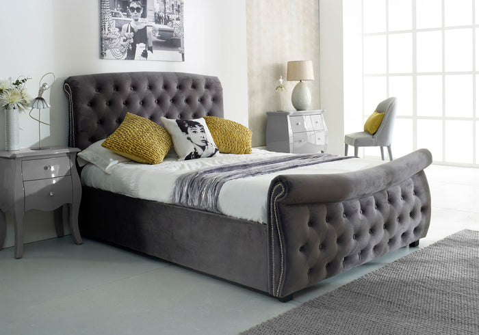 Luccay Silver Fabric Bed