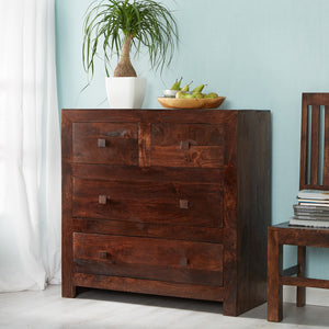 Indian Hub Toko Dark Mango 4 Drawer Dressing Chest-Better Bed Company