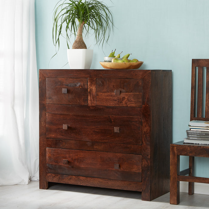 Indian Hub Toko Dark Mango 4 Drawer Dressing Chest