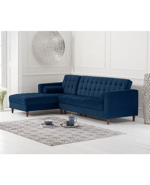 Mark Harris Furniture Anneliese Blue Velvet Left Facing Chaise Sofa