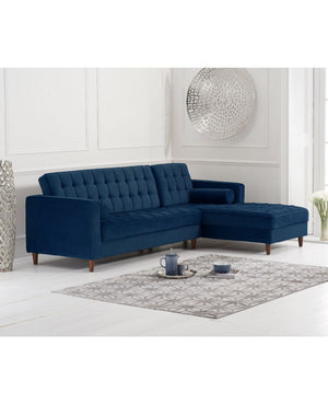 Mark Harris Furniture Anneliese Blue Velvet Right Facing Chaise Sofa