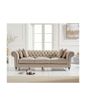 Mark Harris Furniture Camara Chesterfield Cream Linen 3 Seater Sofa