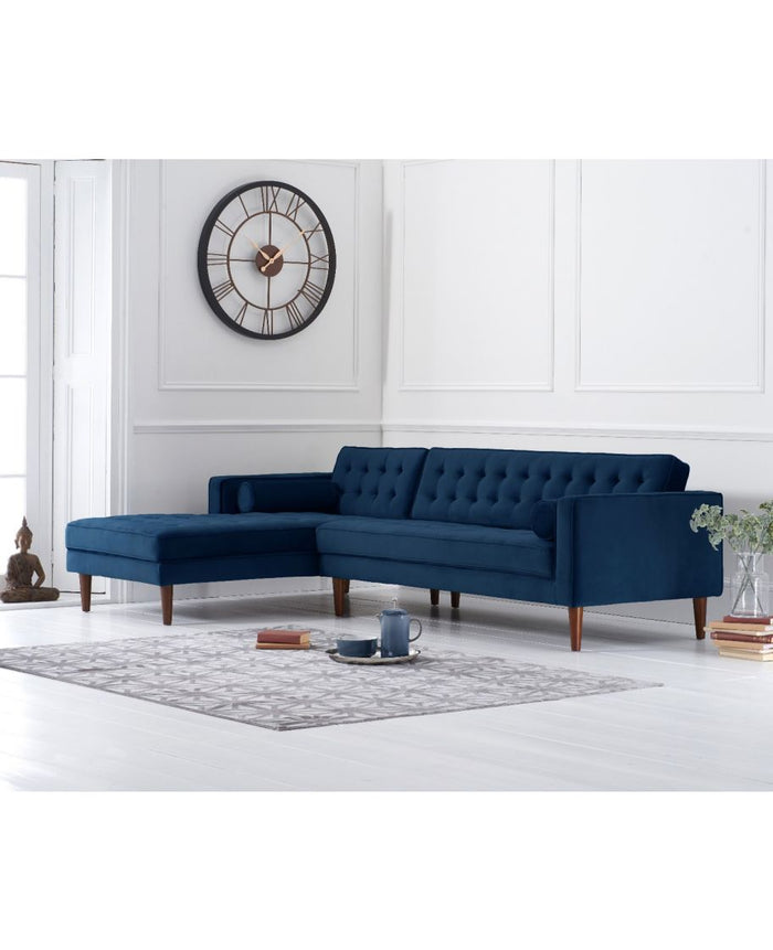 Mark Harris Furniture Idriana Blue Velvet Left Facing Chaise Sofa
