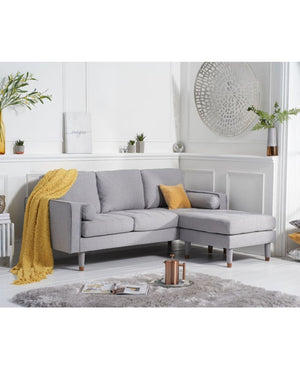 Mark Harris Furniture Liam Grey Linen 3 Seater Reversible Chaise Sofa