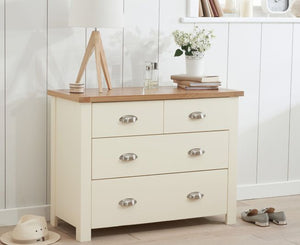 Mark Harris Furniture Sandringham Oak And Cream 2 + 2 Drawer Chest-Better Bed Company