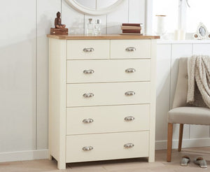 Mark Harris Furniture Sandringham Oak And Cream 4 + 2 Drawer Chest