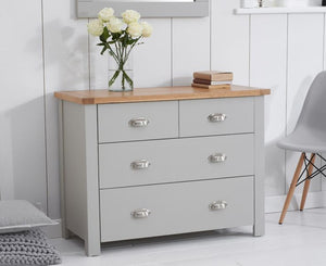 Mark Harris Furniture Sandringham Oak And Grey 2 + 2 Drawer Chest-Better Bed Company
