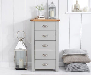 Mark Harris Furniture Sandringham Oak And Grey Tall 5 Drawer Chest-Better Bed Company