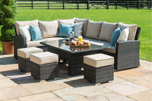 Maze Rattan Kingston Corner Dining Set With Rising Table-Garden Furniture-Maze Rattan-Brown-Better Bed Company
