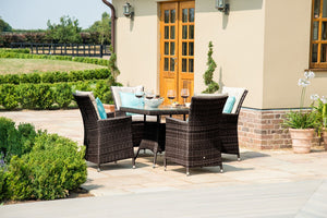 Maze Rattan LA 4 Seat Square Dining Set-Better Bed Company