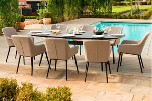 Maze Rattan Zest 8 Seat Oval Dining Set In Garden-Better Bed Company