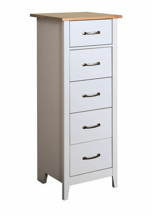 Steens Norfolk Grey And Pine 5 Drawer Narrow Chest-Chest Of Draws-Steens-Better Bed Company