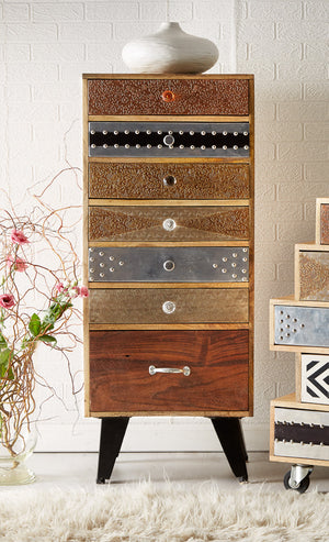 Indian Hub Sorio 7 Drawer Tall Chest-Better Bed Company