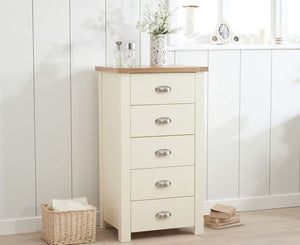 Mark Harris Furniture Sandringham Oak And Cream Tall 5 Drawer Chest-Better Bed Company