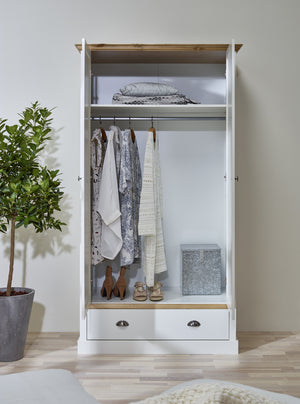 Steens Sandringham White And Pine 2 door 1 Drawer Wardrobe-Wardrobes-Better Bed Company