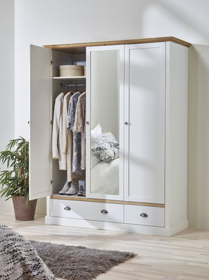 Steens Sandringham White And Pine 3 door 2 Drawer Wardrobe-Wardrobes-Better Bed Company