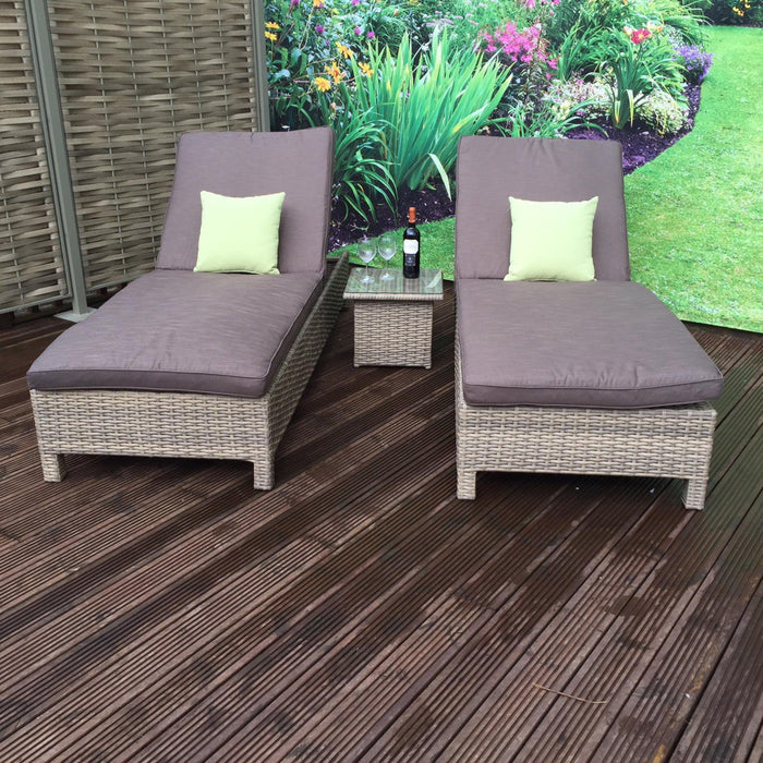 Signature Weave Sarena Rattan Sunbed Set with Coffee Table