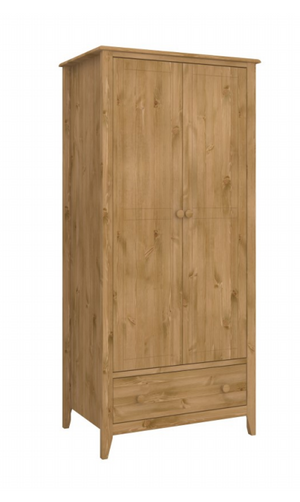 Steens Heston Pine 2 Door 1 Draw Wardrobe-Better Bed Company