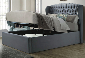 Bedmaster Warwick Wing Velvet Ottoman Bed-Ottoman Beds-Bedmaster-Small Double-Grey-Better Bed Company