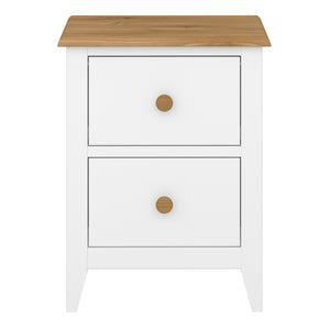 Steens Heston White And Pine 2 Draw Bed Side Table-Steens-Better Bed Company