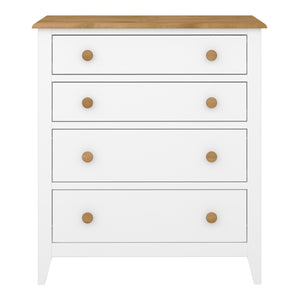 Steens Heston White And Pine 4 Draw Chest Of Draws-Better Bed Company