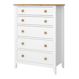Steens Heston White And Pine 5 Draw Chest Of Draws-Steens-Better Bed Company