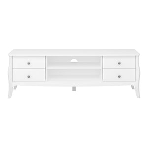 Steens Baroque White Wide TV Table-Better Bed Company