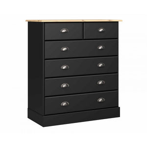 Steens Nola Black And Pine 4 + 2 Drawer Chest-Better Bed Company