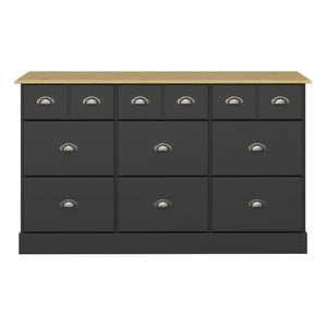 Steens Nola Black And Pine 6 + 3 Drawer Chest-Chest Of Drawers-Better Bed Company