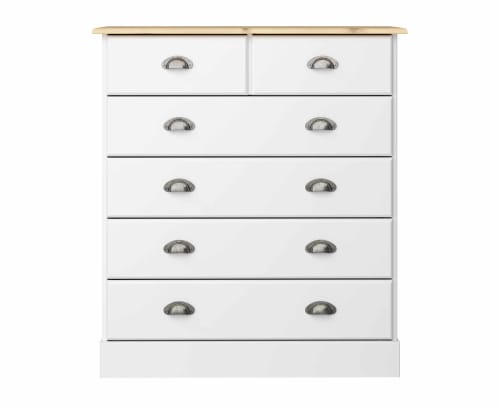 Steens Nola White And Pine 4 + 2 Drawer Chest Of Draws
