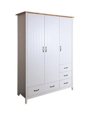Steens Norfolk Grey And Pine 3 Door 4 Drawer Wardrobe-Better Bed Company