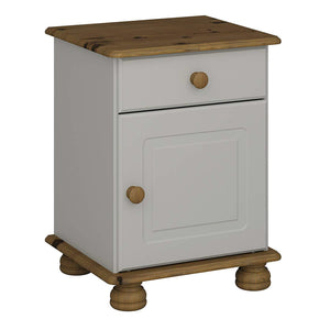 Steens Richmond 1 Door 1 Draw Grey And Pine Bed Side Table-Bed Side Tables-Better Bed Company