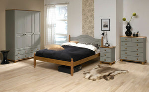 Steens Richmond Grey And Pine 3 Door 4 Draw Wardrobe-Wardrobes-Steens-Better Bed Company
