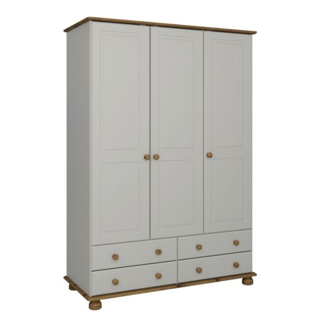 Steens Richmond Grey And Pine 3 Door 4 Draw Wardrobe