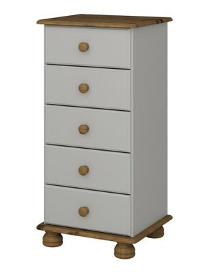 Steens Richmond Grey And Pine 5 Drawer Narrow Chest-Chest Of Draws-Steens-Better Bed Company