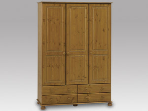 Steens Richmond Pine 3 Door 4 Draw Wardrobe-Better Bed Company