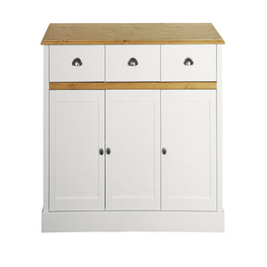 Steens Sandringham Living White And Pine 3 Door 3 Draw Sideboard-Better Bed Company