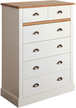 Steens Sandringham White And Pine 2 + 4 Chest Of Draws-Chest Of Drawers-Better Bed Company