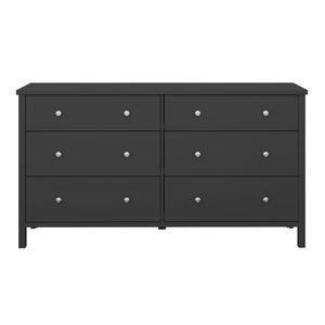 Steens Tromso Black 3 + 3 Wide Draw Chest Of Draws-Better Bed Company